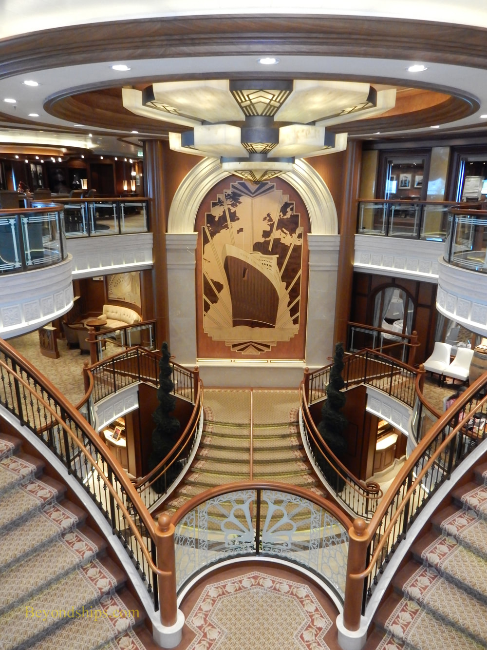 Grand lobby of cruise ship Queen Elizabeth