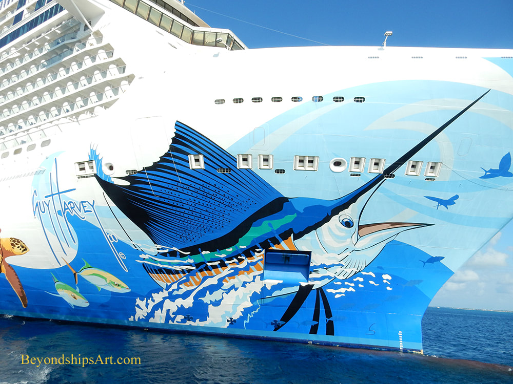 Portion of the hull art on Norwegian Escape by Guy Harvey