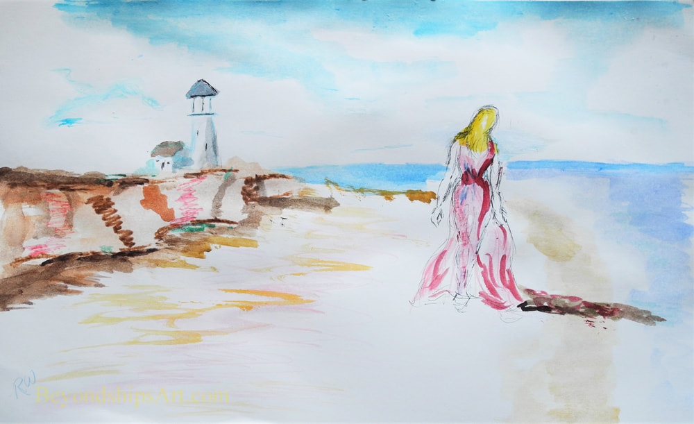 Watercolor beach painting by Rich Wagner
